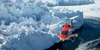 , In elicottero lungo il fronte glaciale