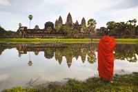 VIETNAM, CAMBOGIA, LAOS, INDONESIA, ANGKOR WAT AT SUNRISE, SIEM REAP CAMBODIA